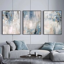 Abstract Blue Modern Style Canvas Painting Nordic Art Posters and Prints Modern Wall Art Picture for Living Room Home Decoration