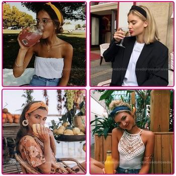 Women Summer Suede Headband Vintage Cross Knot Turban Elastic Hair Bands Soft Solid Girls Hairband Headwear Hair Accessories 3