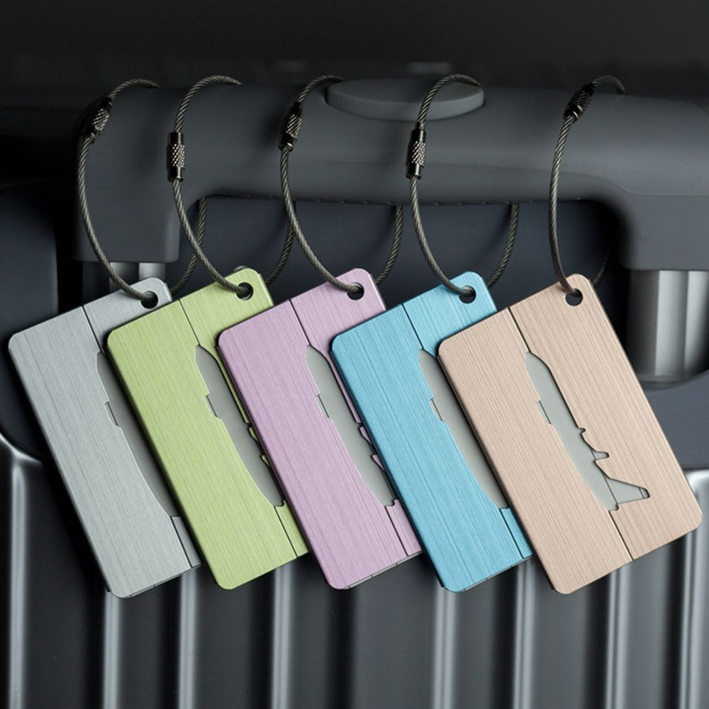 1PCS Chic Luggage Tag Aluminum Alloy Air Plane Travel Suitcase Name Address ID Label Travel Accessories