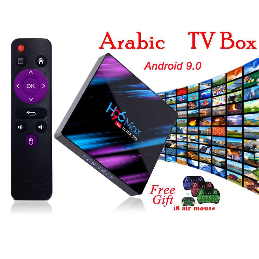 Android tv box H96 MAX Smart IPTV Box tv box android 9.0 WiFi Arabic TV Box lifetime tv for tv box only no channels included