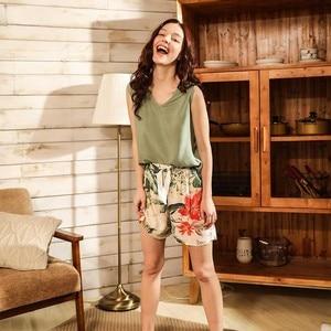 Image 2 - Women Fresh Style 4Pcs Pajama Set Soft Wide Sleeve Loose Cardiagn+Vest+Shorts+Pants Sleepwear Suit Ladies Homewear Casual Wear