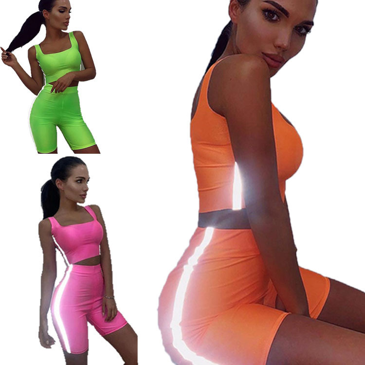 2019 Navel Sexy Vest High-waisted Tight Shorts Street Reflective Strips WOMEN'S Suit