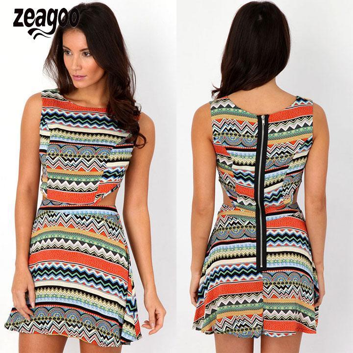 Women's Dress Summer Sleeveless Print Stripe Hollow Waist Mini Party Dress