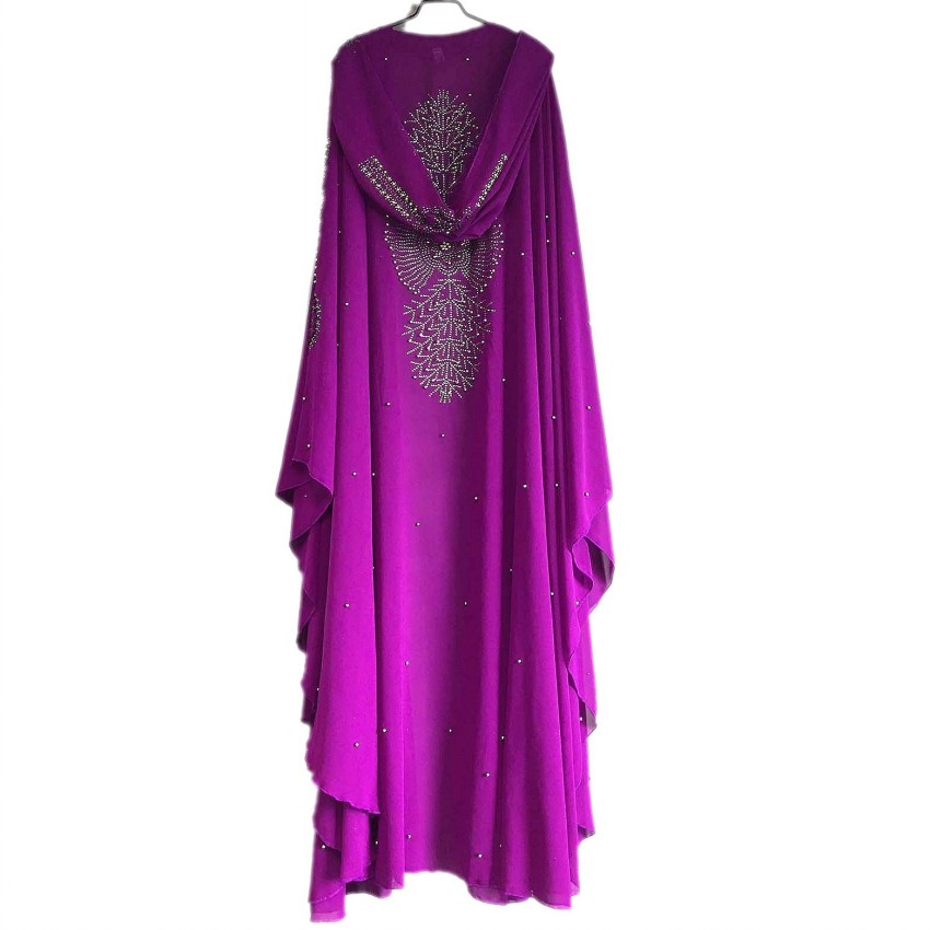 African Dresses For Women Dashiki Diamond Beads African Clothes Abaya Dubai Robe Evening Long Muslim Maxi Dress Hooded Cape