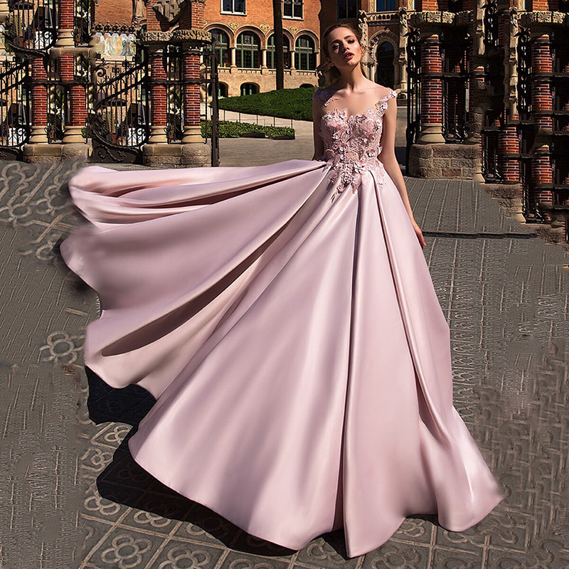Satin Ball Gown Prom Dress 2020 Robe De Soiree Applique Flower Pink Elegant Evening Dress Long Party Gown Gala Formal Dress