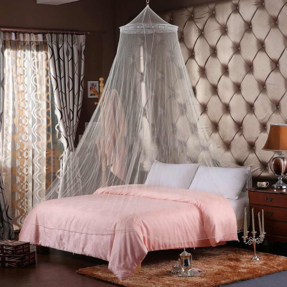 Elegante Kuppel Moskito Abweisend Insekten Ablehnen Blau, Rosa, Weiß Moskito Solide Bett Keine Netto Runde Königin König Größe