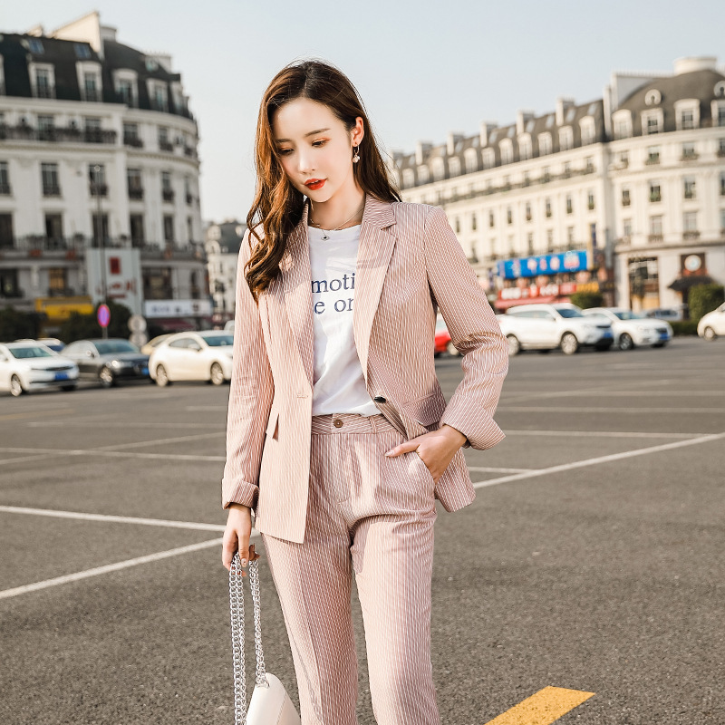 Women's Suit 2019 Autumn New Fashion Casual Temperament Slim Thin Stripe Single Buckle Small Suit Trousers Two-piece