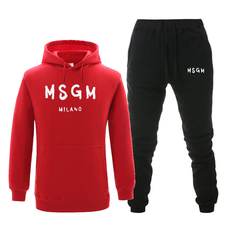 2019 Men Sets Tracksuit MSGM Print Warm Sets Fashion Sportswear With Hood Sweatshirts 2-piece Set Autumn And Winter Suit For Men
