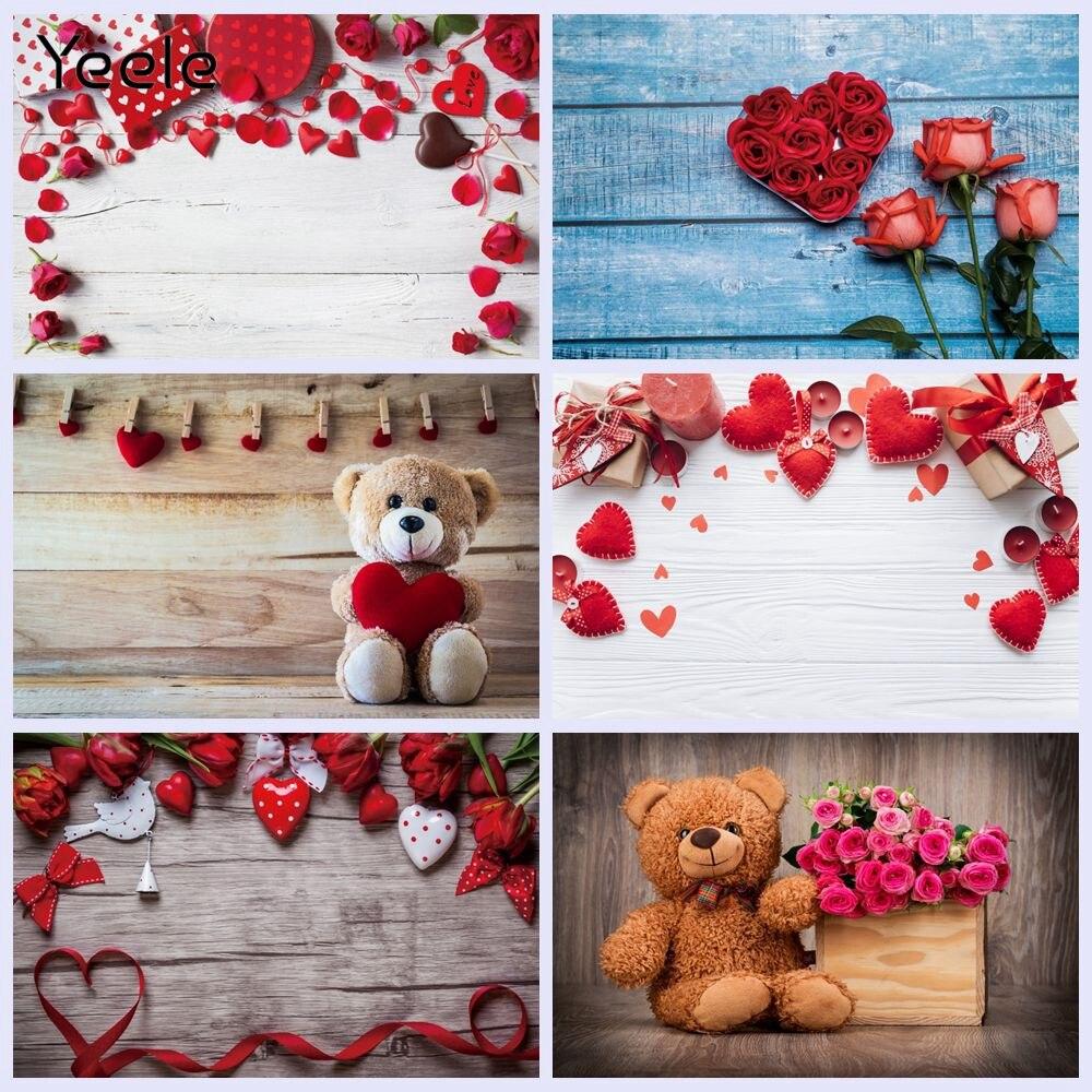 Yeele foto backdrops dia dos namorados prancha de madeira vermelho amor coração vinil fundo fotográfico decoração para estúdio brotos