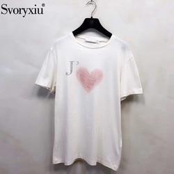 Svoryxiu Designer Summer Cotton Linen Pink Love Print T Shirts Women's Fashion Short Sleeve Tops Tees Female