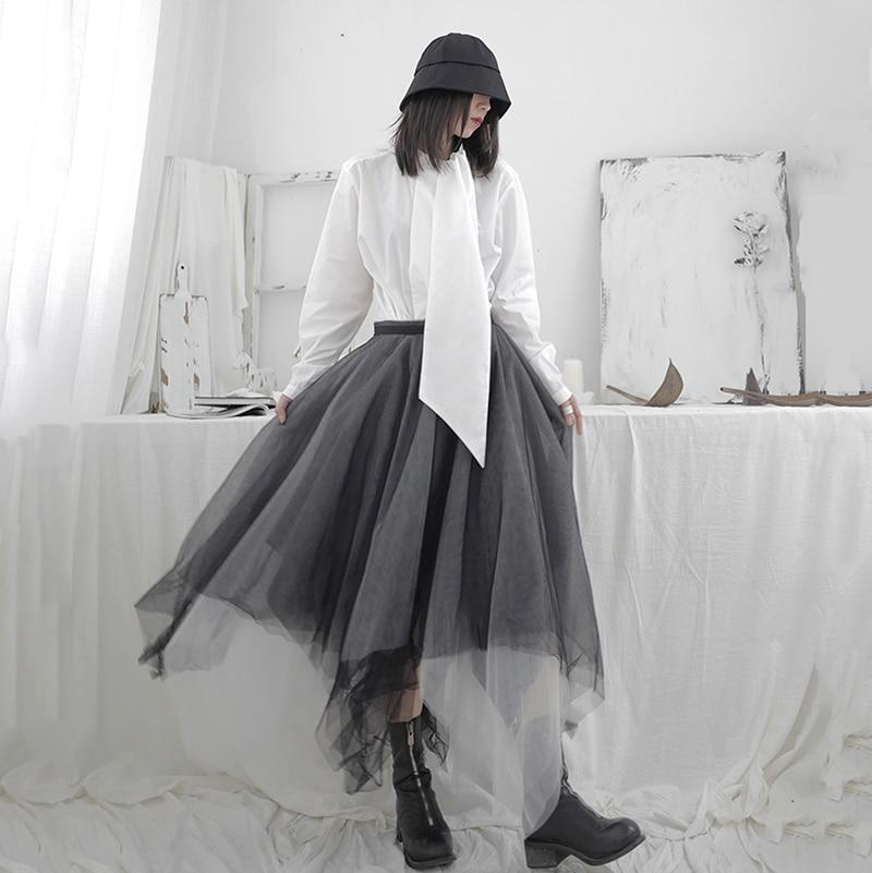 [EAM] High Elastic Waist Black Asymmetrical Mesh Temperament Half-body Skirt Women Fashion Tide New Spring Autumn 2020 1T703