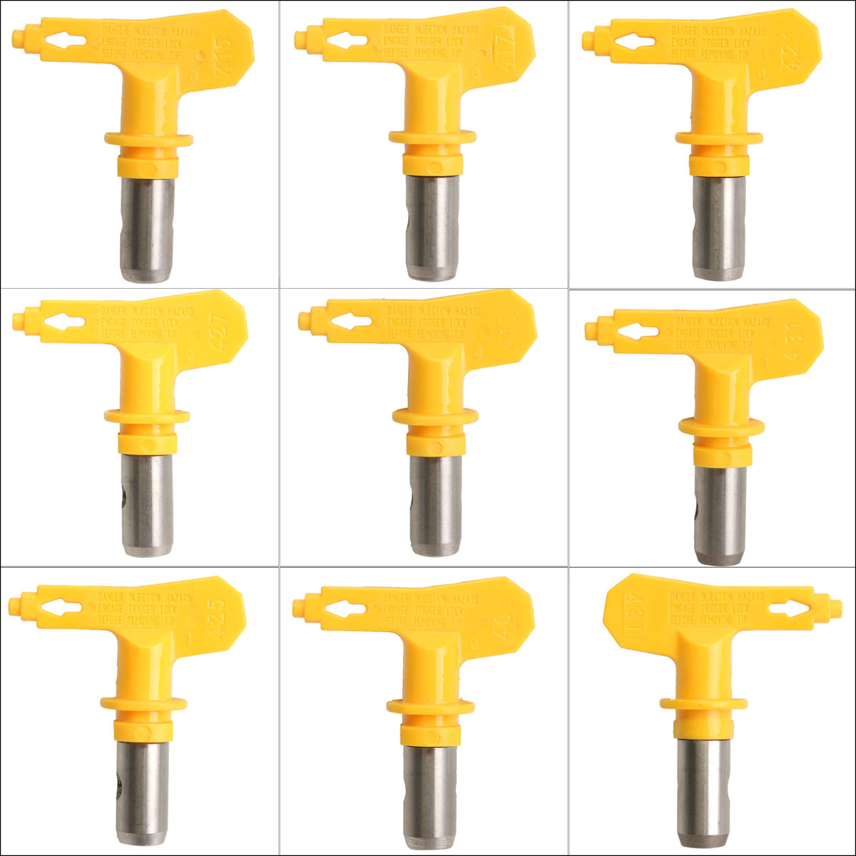 Yellow 4 Series 431/421/417/419 Airless Spray Tip Sprayer Nozzles For Airless Spray G Un And Paint Sprayer