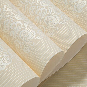 Beige Yellow Embossed Texture Floral Striped Wallpaper Roll For Wall Bedroom Modern Luxury Wall Paper Home Decor Living room girls bedroom embossed wallpaper pink background wall 3d wallpaper pvc roll classic flower wall paper peony floral wall covering