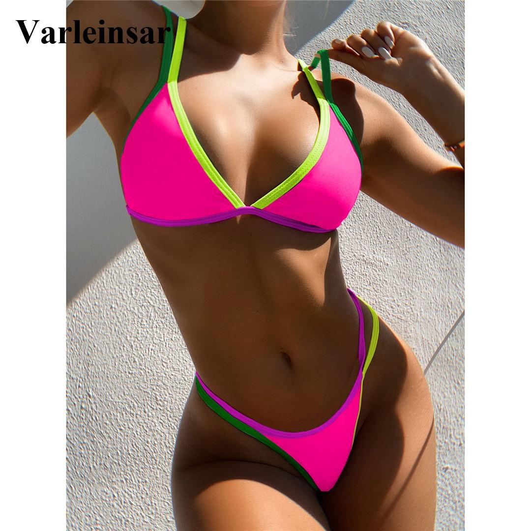 3 renk seksi tanga Bikini kadın mayo kadın mayo iki parçalı Bikini seti yüksek bacak kesim Bather mayo yüzmek bayan V2444