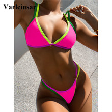 Swimsuit Women Bikini-Set Sexy Thong Two-Pieces High-Leg-Cut Female V2444 3-Colors Lady
