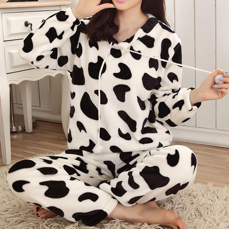 Autumn Winter Women Pyjamas Sets Pajamas Sleepwear Suit Thick Warm Coral Flannel Nightgown Female Cartoon Animal Pijama Mujer 13