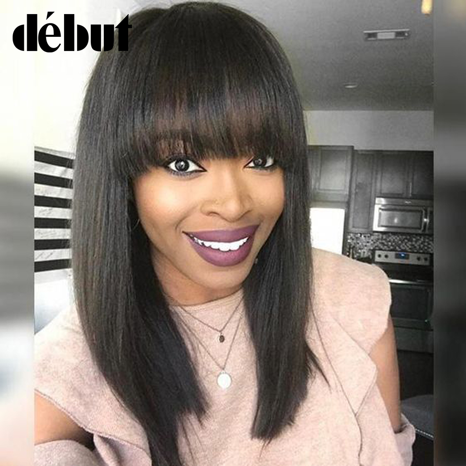 Debut Hair Straight Human Hair Wigs Remy Wigs For Black Women Machine Made Human Hair Wigs With Bangs Free Shipping