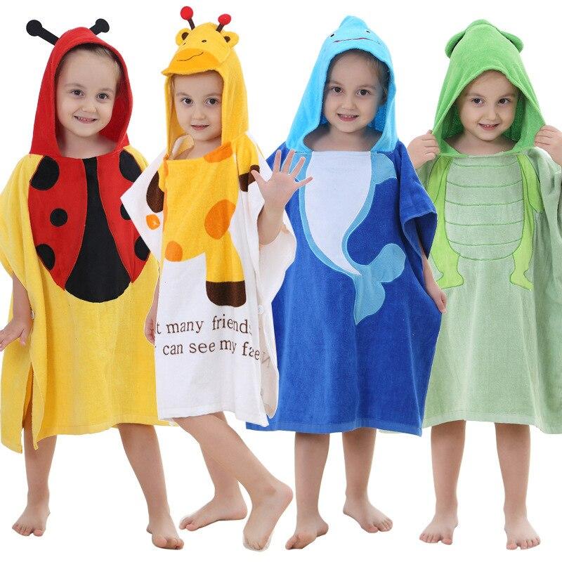 Michley CHILDREN'S Cloak Bath Towel Pure Cotton Cartoon Bathrobe INS Cotton Hooded Baby Wearable Beach Towel Mantle