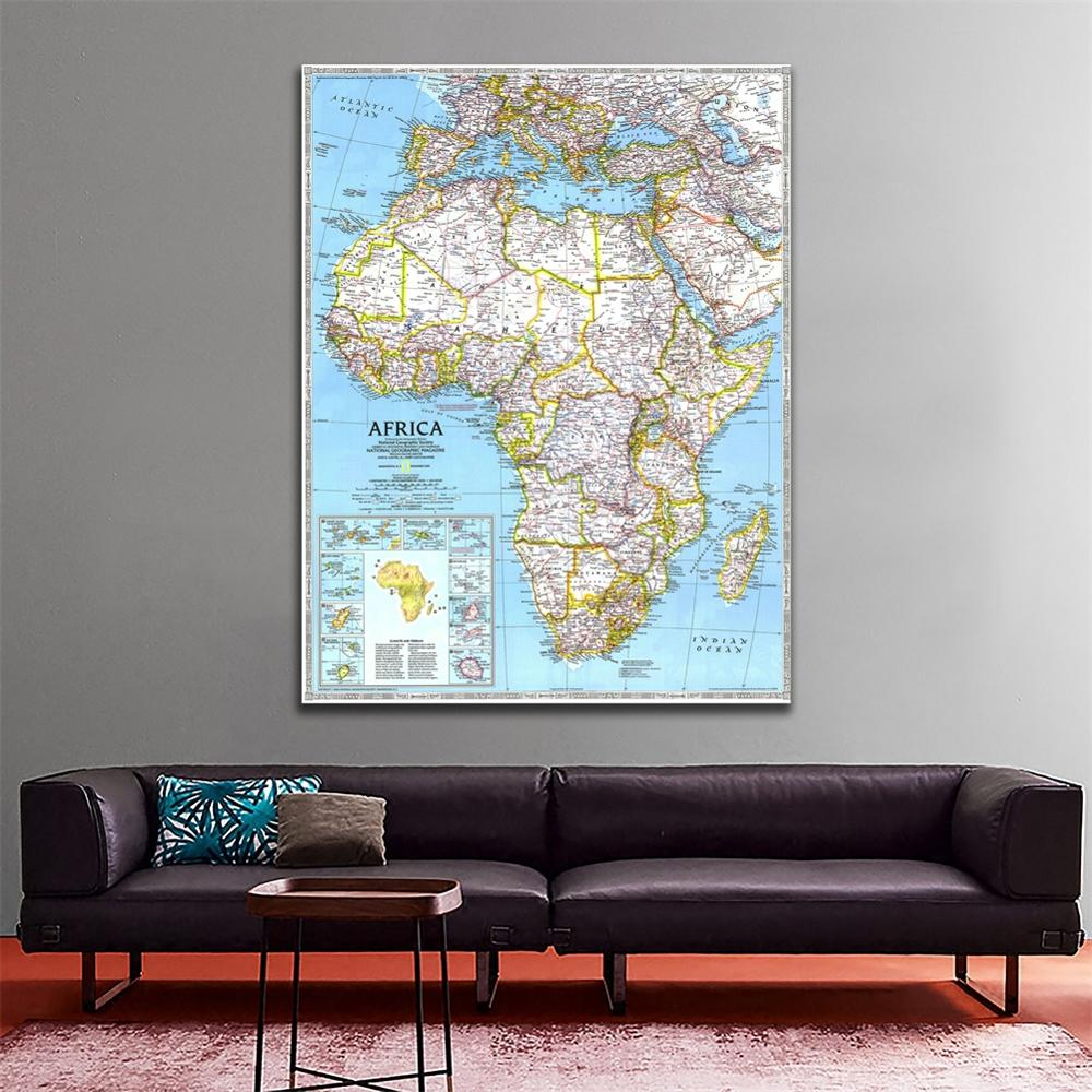 150x225cm Non-woven Vinyl Spray Painting African HD Map In 1990 Edition For Living Room Office Wall Decoration