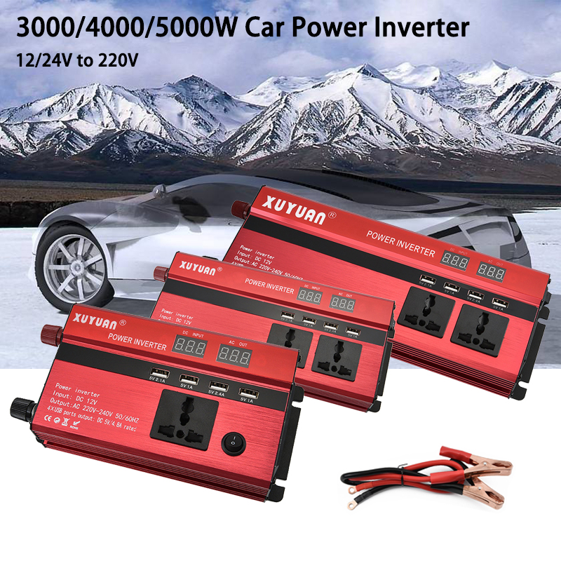Auto <font><b>Inverter</b></font> 3000/4000/5000W 12/24V zu <font><b>220V</b></font> Universal Auto Power <font><b>Inverter</b></font> LED display Spannung Konverter Transformator mit 4 USBs image