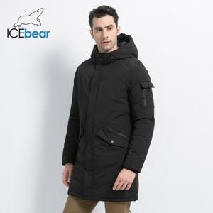 Image 3 - ICEbear 2019 yeni yüksek kalite kış ceket basit rahat ceket tasarım erkekler sıcak kapşonlu marka moda parkas ceketler MWD18718D