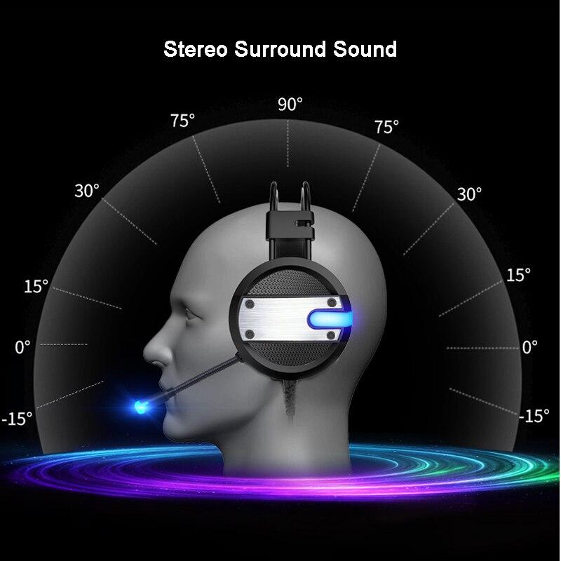 Nieuwe Wired Gaming Headset Diepe Bas Spel Oortelefoon Computer Hoofdtelefoon met Microfoon LED Licht Hoofdtelefoon voor PC Laptop Computer - 5