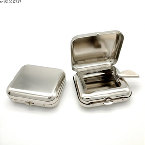 Image 2 - New Arrival Smallsweet Stainless Steel Square Pocket Ashtray metal Ash Tray Pocket Ashtrays With Lids Portable Ashtray