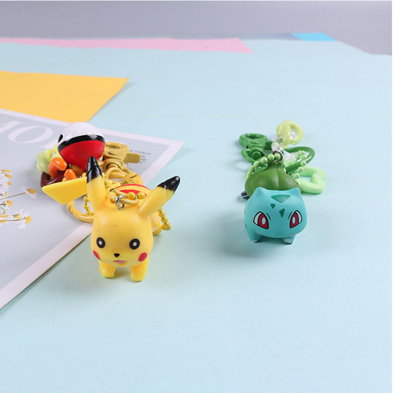 1 Pcs Cartoon Cute Pikachu Keychains Anime Keyring Bell Key Chain Handbag Key Ring Kid Toy Pendant For Women Men Gifts