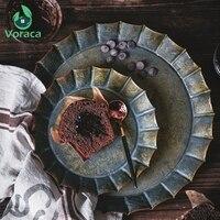 Кружево ретро круглая железная пластина цветочный обод ручной работы винтажный античный металлический поднос Ribboned ретро-табличка для дома...