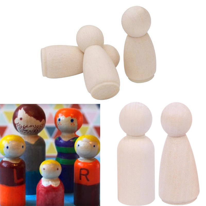 Unfinished Peg Dolls Wooden Toy Kits Figures Mini People Craft Set 34*12mm Non-tonic Accessories 10pcs Durable