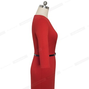 Image 5 - Nice forever Elegant Brief Solid Color Office vestidos Business Work Party Women Bodycon Autumn Dress B552