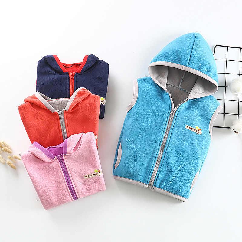 Nuevos chalecos calientes para niñas, niños, chaleco Polar a prueba de viento, chaleco con capucha para niños, chaleco Casual con cremallera de 1-10 años