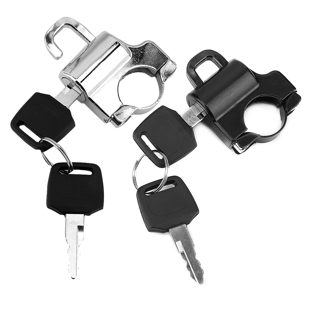 Motorcycle Anti-theft Security Helmet Lock Alloy Black With 2 Keys Universal Only Fit For Motorcycle Models With 22mm Handlebar