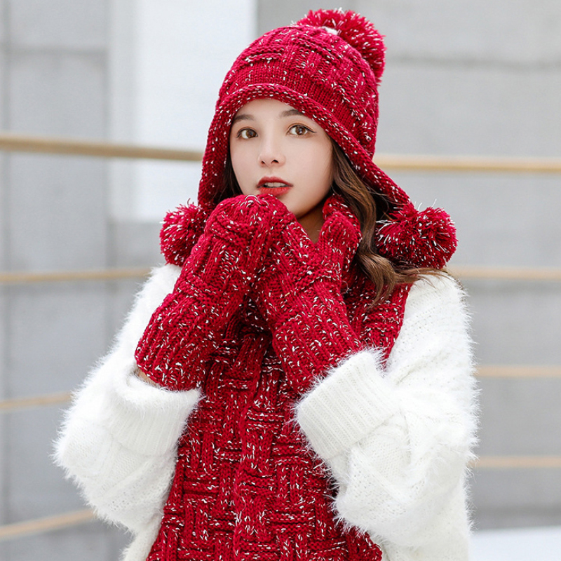 HT2843 Thick Warm 3PCS Hat Scarf Gloves Set Female Winter Accessory Ladies Knitted Beanie Hat With Scarf Gloves Women Winter Set