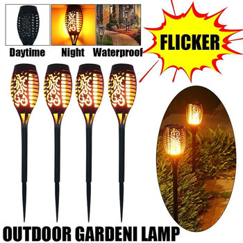 цена 4Pcs 96 LED Solar Flame Lamp Flickering Waterproof Flicker Lights Landscape Garden Decoration Lawn Light Torch Outdoor Spotlight онлайн в 2017 году