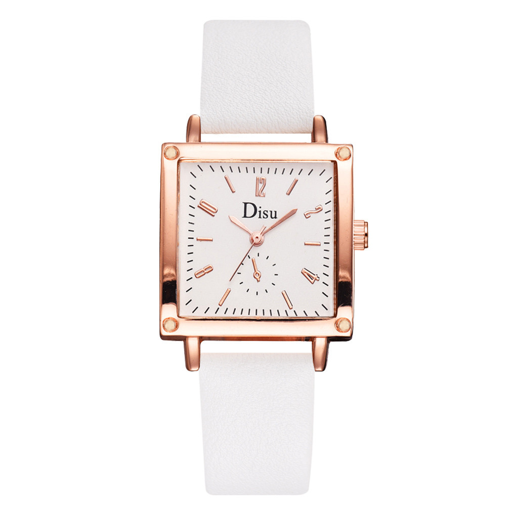 Top Style Fashion Women's watches Luxury Leather Band Analog Quartz Wrist Watch Golden Ladies Watch Women Dress Reloj Mujer Cloc(China)