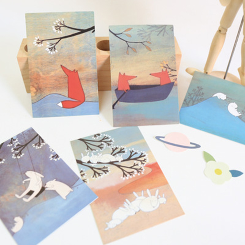 30 Korean Stationery Boxed Postcards / Blessing Cards / Creative Small Fresh Art / Greeting Card / Wish Card / Fash Plain Card