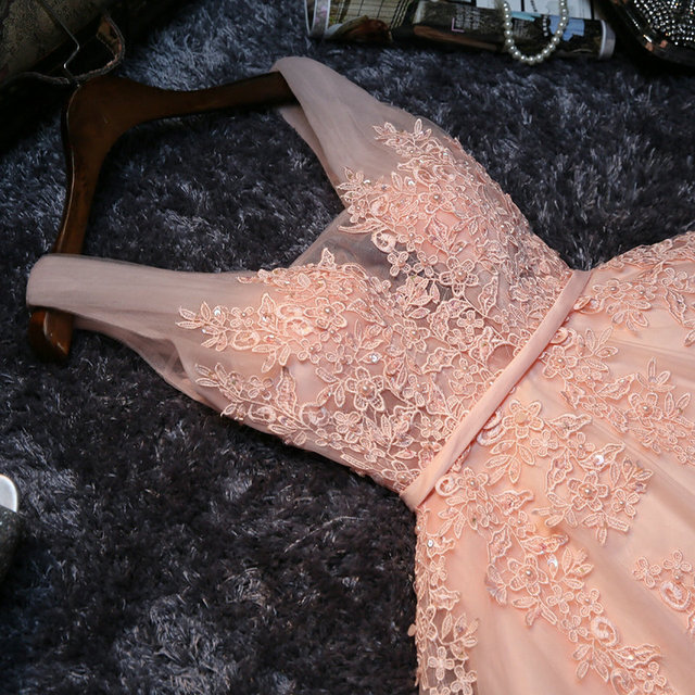 Elegant Pearl Pink Prom Dresses 2020 Sexy Prom Dress Short V Neck Appliques Beading Lace Up Knee-Length Graduation Party Gowns 3