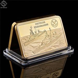 German Deutsche Kriegsmarine Die Bismarck Battleship Gold Plated Bullion Bar/Coins 1OZ 999/1000 Gold Craft Collection(China)