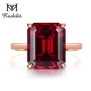 Image 3 - Kuololit 7.4ct 10K Solid Gold customize Lab Grown Ruby Ring for Women 10x12mm Ruby Rose gold Rings Engagement bride Fine Jewelry