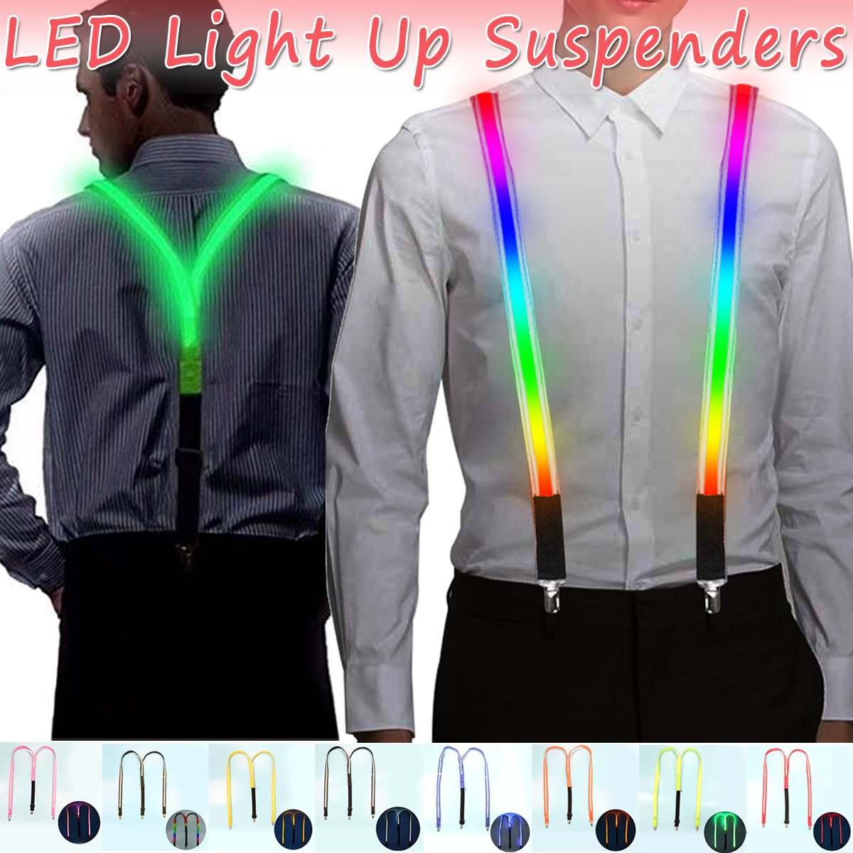 1PCS Printed LED Suspenders Men 3 Clips-on Braces Vintage Look Mens Suspender For Trousers Husband Male Suspensorio For Skirt