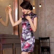 2019 직접 판매 개선 된 Qipao 드레스 고대의 방법을 복원하는 기질 가방 힙합 칼라 Xiejin 실크 짧은 소매