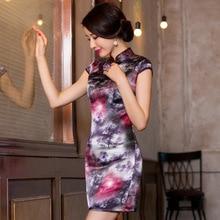 2019 ישיר למכור השתפר Qipao שמלת כדי לשחזר דרכים עתיקות לטפח ירך תיק טמפרמנט צווארון Xiejin משי קצר שרוול