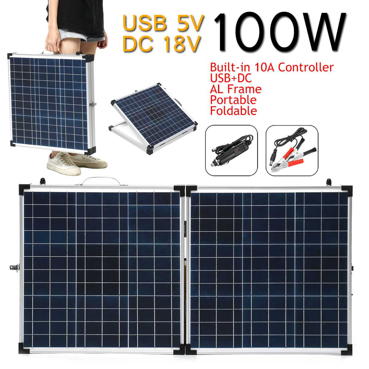 LEROY 100W 18V Folding Portable Solar Panel Solar cells battery charger with Car Charger for Outdoor Camping Waterproof|Solar Cells| |  -