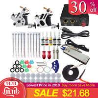 Completo Della Macchina Del Tatuaggio Kit Set 2 Bobine Pistole 5 Colori Nero Pigmento Set di Alimentazione Del Tatuaggio Principiante Grip Kit di Trucco Permanente