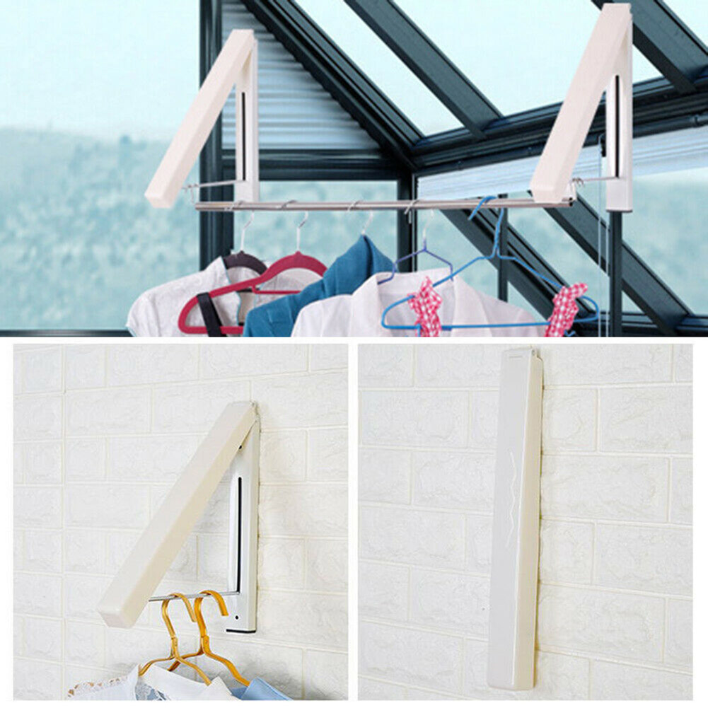 Stainless Steel Laundry Drying Rack Wall-Mount Retractable Folding Invisible Clothes Hanger,Material ABS 1//2 x Laundry Drying Rack