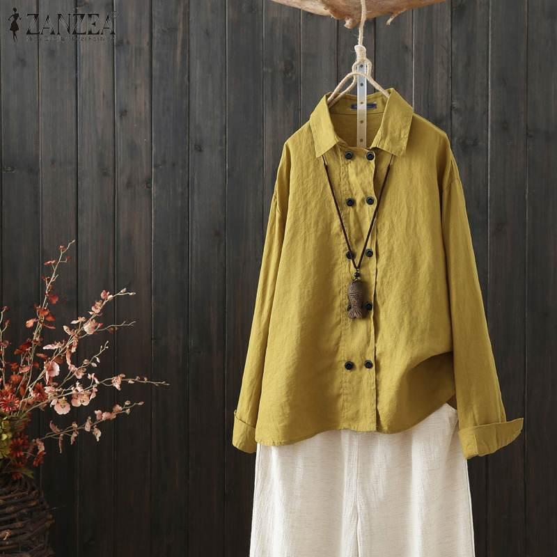 ZANZEA Women Long Sleeve Shirt Causal Lapel Neck Tunic Tops Elegant Ladies Casual Buttons Blouse Cotton Tunic Blusas Femininas 7
