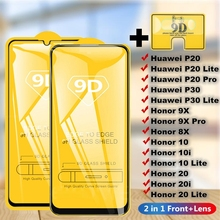 2 in 1 Full Cover 9D Tempered Glass for Huawei P20-Pro P20 P30-Lite Honor 8X 9X 9X-Pro 10 20 Lite 10i 20i Screen Protector 2 in 1 full cover 9d tempered glass for huawei honor 9x 9x pro 8x 8a 8c 8s v20 v30 10 20 10i 20i 10 20 lite screen protector