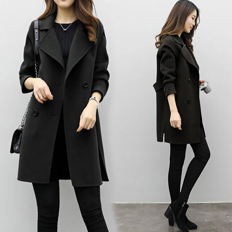 2019 Winter Coat Women Plus Size Korean Fashion Belt Womens Coats Slim Artificial Wool Outerwear Warm Winter Jacket For Female 12