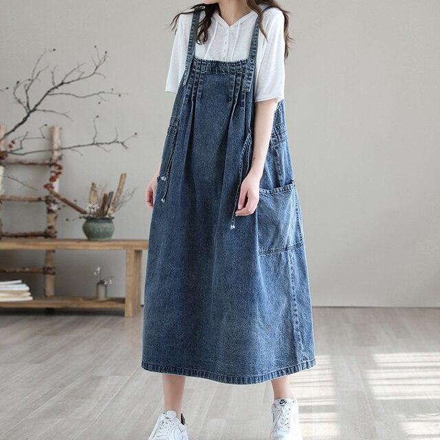NINI WONDERLAND 2021 Summer Cotton Denim Midi Dress Women's Spaghetti Strap Loose Dress Korean Style Casual Dresses Big Size 2
